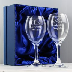Personalised His & Her Wine Glass Gift Set