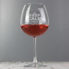 Personalised Keep Calm & Drink Wine Huge Wine Glass