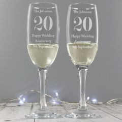Personalised Anniversary Champagne Flutes with Gift Box
