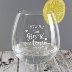 Personalised 'Gin to My Tonic' Gin Balloon Glass