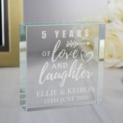 Personalised Anniversary Large Crystal Token Ornament