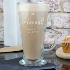 Personalised Heart Design Latte Glass
