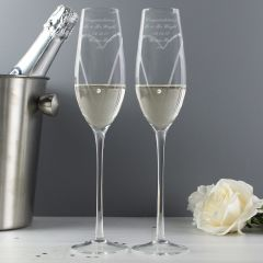 Personalised Hand Cut Champagne Flutes with Heats & Swarovski Elements with Gift Box