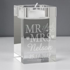 Personalised Mr & Mrs Glass Tea Light Candle Holder Gift