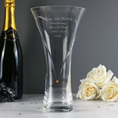 Personalised Hand Cut Vase with Gold Diamante Heart & Swarovski Elements