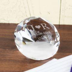 Personalised Initials Diamond Shaped Paperweight
