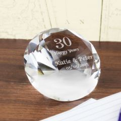 Personalised Big Numbers Diamond Shaped Paperweight