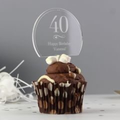 Personalised Swirls & Hearts Design Age Acrylic Cake Topper