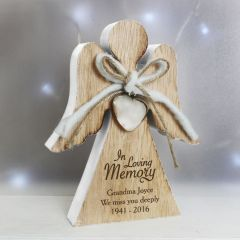 In Loving Memory Personalised Rustic Wooden Angel Decoration