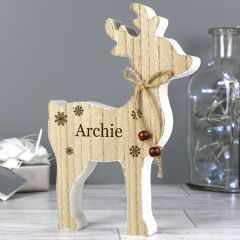 Personalised Add Any Name Rustic Wooden Reindeer Decoration