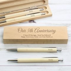 Personalised Add Any Message Wooden Pen & Pencil Box Set