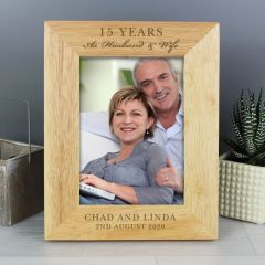 Personalised Anniversary Wooden Photo Frame 7x5