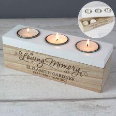 In Loving Memory Personalised Triple Tea Light Box