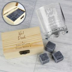 Personalised The No.1 Whisky Stones & Glass Set