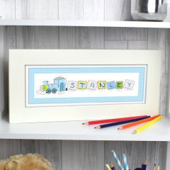 Personalised Patchwork Train Design Name Frame
