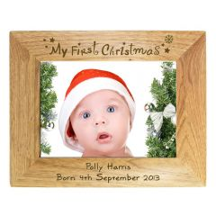 Personalised My First Christmas Landscape Wooden Photo Frame 7x5