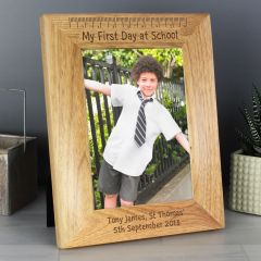 Personalised My First Day at School Wooden Photo Frame 7x5