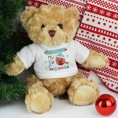 Personalised Felt Stitch Design Robin 'My 1st Christmas' Teddy
