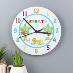 Personalised Animal Alphabet Letter Boys Clock