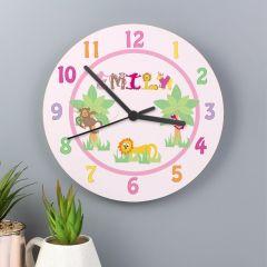 Personalised Animal Alphabet Letter Girls Clock
