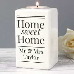 Personalised Home Sweet Home Ceramic Tea Light Candle Holder Gift