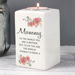 Personalised Floral Sentimental Ceramic Tea Light Candle Holder Gift