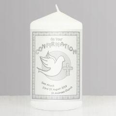 Personalised Confirmation Candle Grey Keepsake