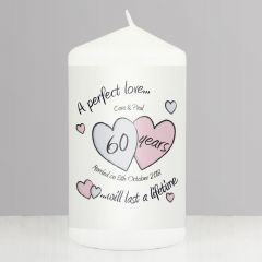 Personalised A Perfect Love Hearts Diamond Anniversary Candle