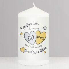 Personalised A Perfect Love Hearts Golden Anniversary Candle