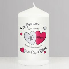 Personalised A Perfect Love Hearts Ruby Anniversary Candle