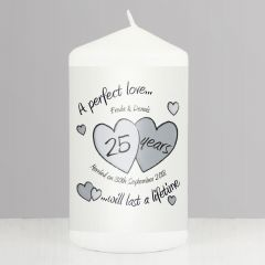 Personalised A Perfect Love Hearts Silver Anniversary Candle