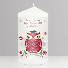 Personalised Christmas Owl Teacher Design Candle