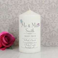 Personalised Wedding Design Mr & Mrs Candle