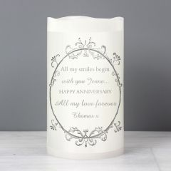 Personalised Ornate Frame LED Flickering Candle