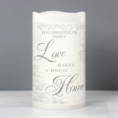 Personalised Love Makes a Home LED Flickering Candle