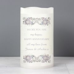 Personalised Floral Design LED Flickering Candle