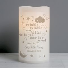 Personalised Twinkle Twinkle Nightlight LED Flickering Candle