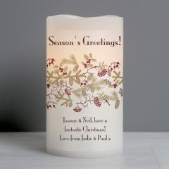 Personalised Christmas Berries LED Flickering Candle