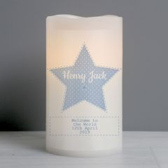 Personalised Stitch & Dot Baby Boy Nightlight LED Flickering Candle