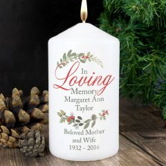 Personalised In Loving Memory Wreath Design Candle