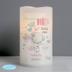 Personalised Tiny Tatty Teddy Dream Big Pink Nightlight LED Flickering Candle