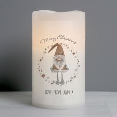 Personalised Scandinavian Christmas Gnome LED Flickering Candle