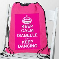 Personalised Pink Keep Calm Drawstring Bag