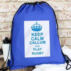 Personalised Blue Keep Calm Drawstring Bag