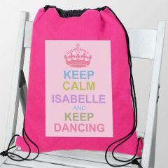 Personalised Pastel Keep Calm Drawstring Bag
