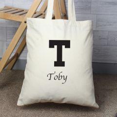 Personalised Black Initial Cotton Tote Bag
