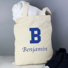 Personalised Blue Initial Cotton Tote Bag