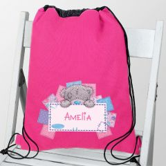 Personalised Me To You Design Pink Drawstring Bag