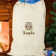 Personalised Woodland Owl Design Cotton Sack