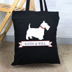 Personalised Scottie Dog Black Cotton Tote Bag